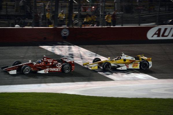 Scott Dixon (NZL) Target Chip Ganassi Racing and Ryan Hunter-Reay (USA) Andretti Autosport. IndyCar World Series, Rd15, MAVTV 500, Auto Club Speedway, Fontana, California, USA 14-15 September 2012.