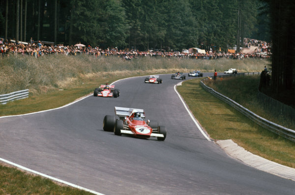 1972 German Grand Prix.  Nurburgring, Germany. 28-30th July 1972.  Jacky Ickx, Ferrari 312B2, 1st position, leads Ronnie Peterson, March 721G Ford, 3rd position, Clay Regazzoni, Ferrari 312B2, 2nd position, Emerson Fittipaldi, Lotus 72D Ford, retired, and Jackie Stewart, Tyrrell 003 Ford, 11th position.  Ref: 72GER18. World Copyright: LAT Photographic
