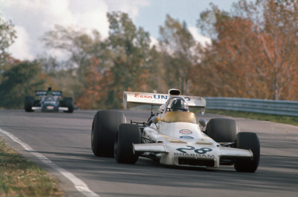 1972 United States Grand Prix.  Watkins Glen, New York, United States. 6-8th October 1972.  Graham Hill, Brabham BT37 Ford, 11th position, leads Henri Pescarolo, March 721 Ford, 14th position.  Ref: 72USA24. World Copyright: LAT Photographic
