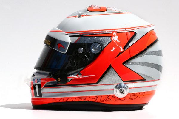 Albert Park, Melbourne, Australia. Thursday 13 March 2014. The helmet of Kevin Magnussen (DEN) McLaren. World Copyright: xpb Images/LAT Photographic. ref: Digital Image 2014helmets03