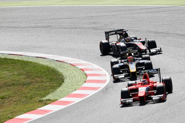 2015 GP2 Series Round 2. Circuit de Catalunya, Barcelona, Spain. Sunday 10 May 2015. Norman Nato (FRA, Arden International) leads Alex Lynn (GBR, DAMS) and Stoffel Vandoorne (BEL, ART Grand Prix). Photo: Zak Mauger/GP2 Series Media Service. ref: Digital Image _L0U5741