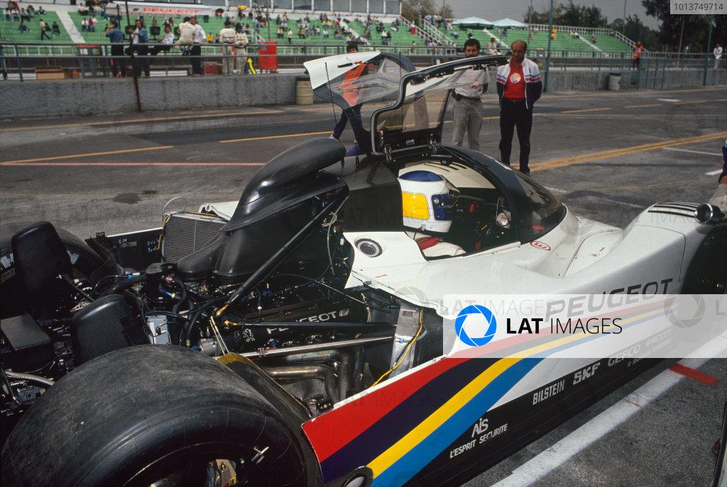 Autopolis 430 Kms. Autopolis, Japan. 28th October 1991. Rd 8. Yannick Dalmas/Keke Rosberg (Peugeot 905), retired, in the pits, portrait. World Copyright: LAT Photographic. Ref:  91 SWC AUTO 05