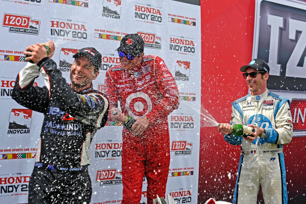 3-5 August, 2012, Lexington, Ohio USA(L to R): Will Power (2nd), winner Scott Dixon and Simon Pagenaud (3rd) spray the champagne in Victory Lane.(c)2012, F. Peirce WilliamsLAT Photo USA