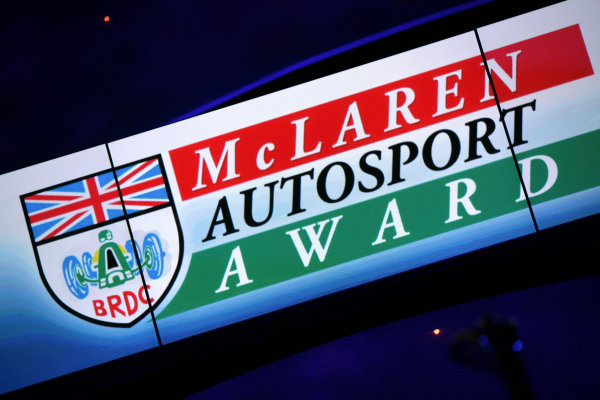 Grosvenor House Hotel, London. 3rd December 2006.McLaren Autosport BRDC Award logo on screen.World Copyright: Peter Spinney/LAT Photographicref: Digital Image YY2Z4088