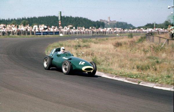 1957 German Grand Prix.Nurburgring, Germany.2-4 August 1957.Stuart Lewis-Evans (Vanwall VW4).Ref-57 GER 08.World Copyright - LAT Photographic