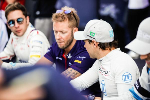 Felipe Massa (BRA), Venturi Formula E, talks to Sam Bird (GBR), Envision Virgin Racing, at an autograph signing session