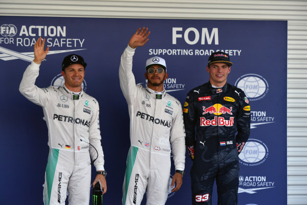 (L to R): Nico Rosberg (GER) Mercedes AMG F1, pole sitter Lewis Hamilton (GBR) Mercedes AMG F1 and Max Verstappen (NED) Red Bull Racing celebrate in parc ferme at Formula One World Championship, Rd19, Mexican Grand Prix, Qualifying, Circuit Hermanos Rodriguez, Mexico City, Mexico, Saturday 29 October 2016.