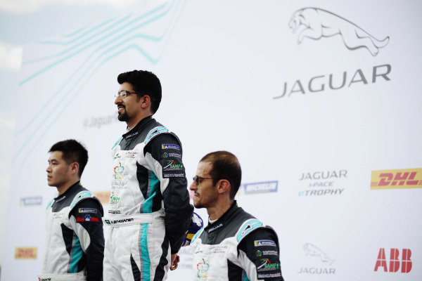 Race winner Ahmed Bin Khanen (SAU), Saudi Racing on the podium with Yaqi Zhang (CHI), Team China, 2nd position, and Bandar Alesayi (SAU), Saudi Racing, 3rd position
