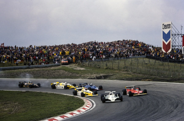 Alan Jones, Williams FW07 Ford leads Gilles Villeneuve, Ferrari 312T4 and Jean-Pierre Jabouille, Renault RS10.