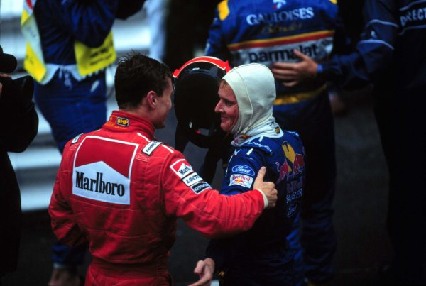 Monaco Grand Prix.Monte Carlo, Monaco.16-19 May 1996David Coulthard (McLaren Mercedes-Benz) and Johnny Herbert (sauber Ford) after finishing in 2nd and 3rd positions respectively.World Copyright - LAT Photographic