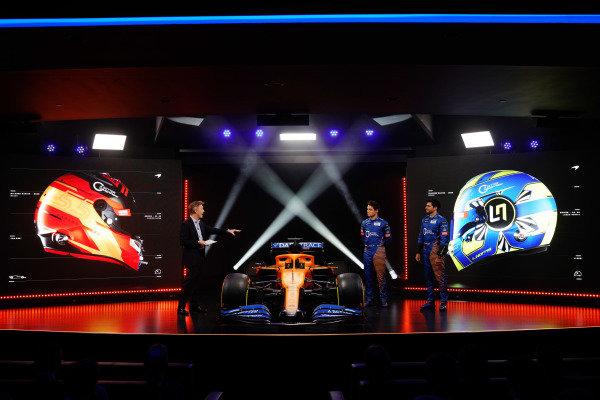 The McLaren MCL35 Renault is launched. Simon Lazenby, Sky TV, Lando Norris, McLaren, and Carlos Sainz Jr, McLaren, discuss the car on stage