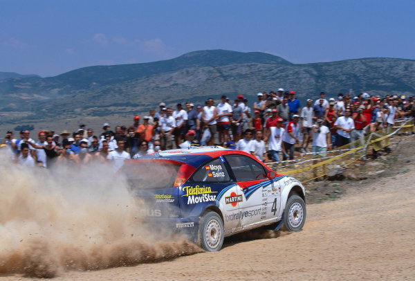 2002 World Rally ChampionshipAcropolis Rally, Greece. 13th - 16th June 2002.carlos Sainz/Luis Moya, Ford Focus RS WRC02, action.World Copyright: McKlein/LAT Photographicref: 35mm Image A12