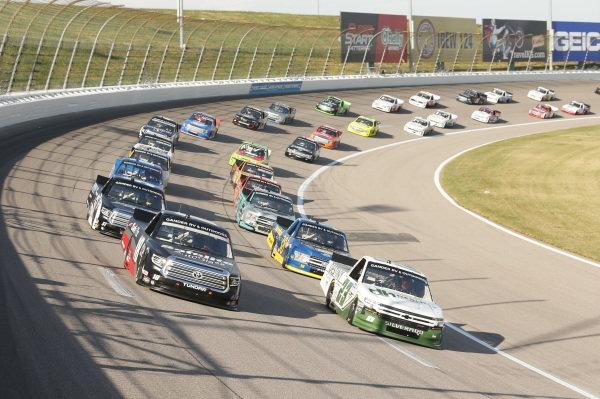 #18: Christian Eckes, Kyle Busch Motorsports, Safelite AutoGlass Toyota Tundra #23: Brett Moffitt, GMS Racing, Destiny Homes Chevrolet Silverado