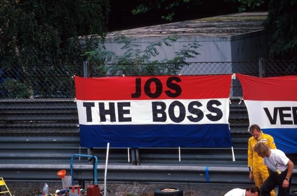 Jos Verstappen (NED) acquired his nickname ÔJos the BossÕ early in his racing career as some of his supporters demonstrate.German Formula Three Championship, Avus, Germany, 12 September 1993.