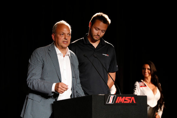 7-9 August, 2015, Elkhart Lake, Wisconsin, USA David and Cooper MacNeil announce the IMSA WeatherTech SportsCar Championship ? 2015, Michael L. Levitt LAT Photo USA