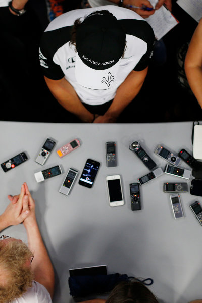 Hungaroring, Budapest, Hungary. Thursday 23 July 2015. Fernando Alonso, McLaren, talks to the press. World Copyright: Steven Tee/LAT Photographic ref: Digital Image _L4R5721