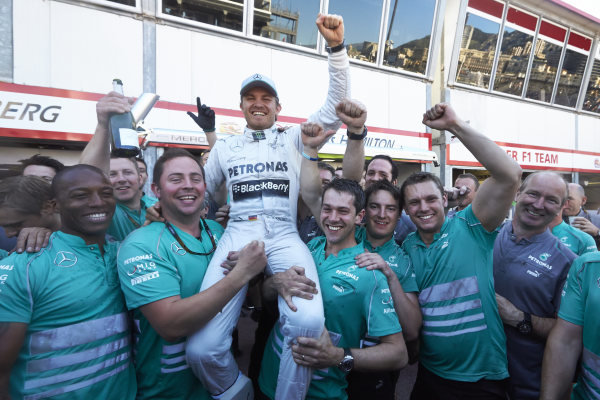 o 26th May 2013. Nico Rosberg, Mercedes, celebrates with mechanics. World Copyright: Steve Etherington/c ref: Digital Image SNE23958 copy