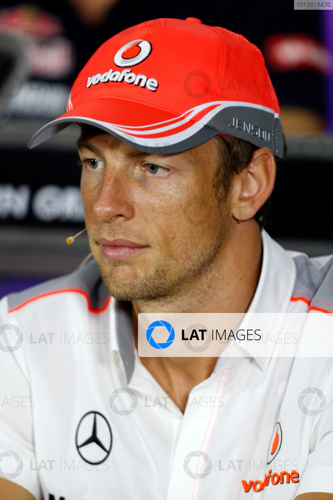 Bahrain International Circuit, Sakhir, Bahrain Thursday 18th April 2013 Jenson Button, McLaren, in the Thursday Press Conference. World Copyright: Charles Coates/LAT Photographic ref: Digital Image _N7T8484
