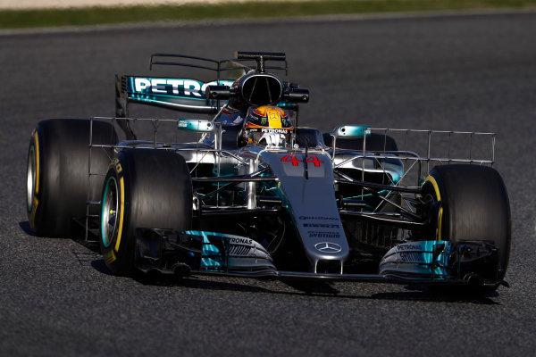 Circuit de Barcelona Catalunya, Barcelona, Spain. Tuesday 07 March 2017. Lewis Hamilton, Mercedes F1 W08 EQ Power+. World Copyright: Glenn Dunbar/LAT Images ref: Digital Image _31I5291