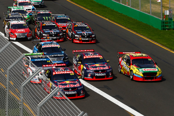 Australian Supercars Series Albert Park, Melbourne, Australia. Sunday 26 March 2017. Race 4. Jamie Whincup, No.88 Holden Commodore VF, Red Bull Holden Racing Team, leads Chaz Mostert, No.55 Ford Falcon FG-X, Supercheap Auto Racing, and Shane van Gisbergen, No.97 Holden Commodore VF, Red Bull Holden Racing Team.  World Copyright: Zak Mauger/LAT Images ref: Digital Image _56I0171