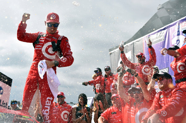 2017 Monster Energy NASCAR Cup Series Auto Club 400 Auto Club Speedway, Fontana, CA USA Sunday 26 March 2017 Kyle Larson celebrates his win in Victory Lane World Copyright: Nigel Kinrade/LAT Images ref: Digital Image _DSC4997