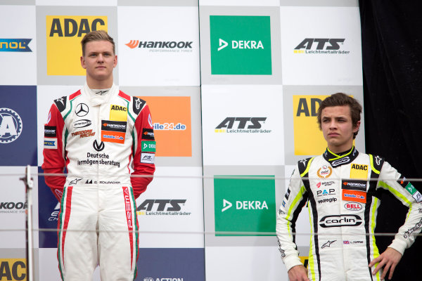 2017 FIA Formula 3 European Championship. Round 1 - Silverstone, UK. Saturday 15 April 2017. Rookie Podium: Mick Schumacher, Prema Powerteam, Dallara F317 - Mercedes-Benz and Lando Norris, Carlin, Dallara F317 - Volkswagen World Copyright: Ebrey/LAT Images ref: Digital Image 585A3421