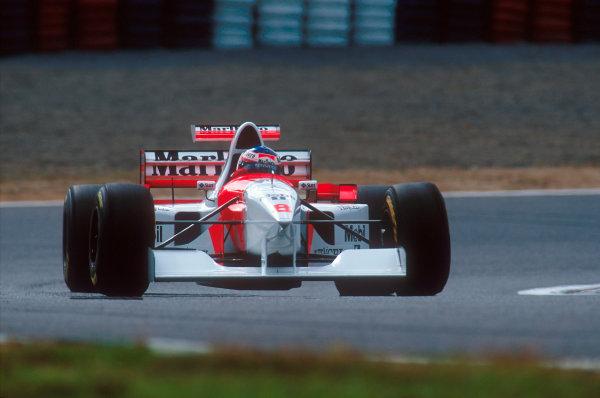 Tanaka International, Aida, Japan.20-22 October 1995.Jan Magnussen (McLaren MP4/10B Mercedes) 10th position on his Grand Prix debut.Ref-95 PAC 02.World Copyright - LAT Photographic