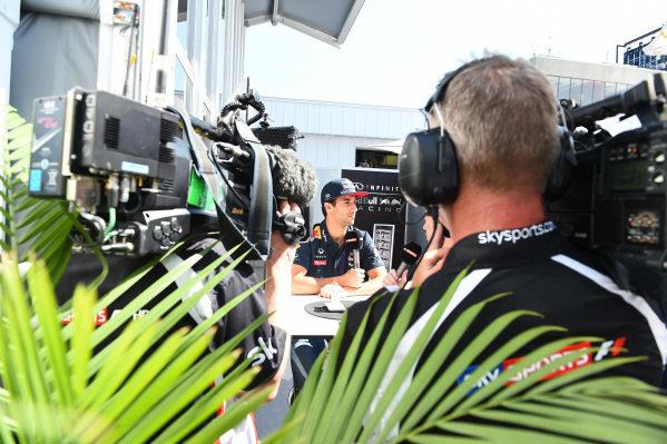 Daniel Ricciardo (AUS) Red Bull Racing talks with Simon Lazenby (GBR) Sky TV at Formula One World Championship, Rd7, Canadian Grand Prix, Race, Montreal, Canada, Sunday 7 June 2015.