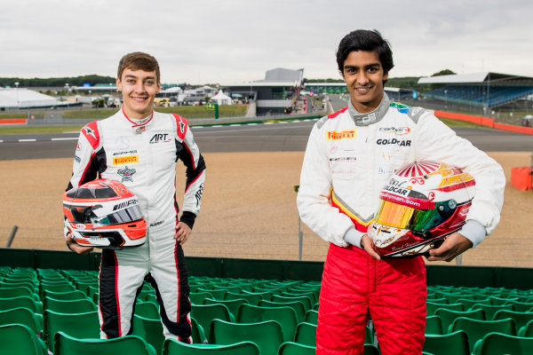 2017 GP3 Series Round 3.  Silverstone, Northamptonshire, UK. Thursday 13 July 2017. George Russell (GBR, ART Grand Prix) and Raoul Hyman (RSA, Campos Racing).  Photo: Zak Mauger/GP3 Series Media Service. ref: Digital Image _56I6386