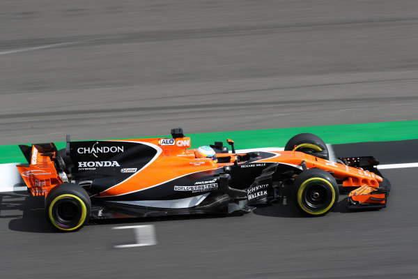 Silverstone, Northamptonshire, UK.  Friday 14 July 2017. Fernando Alonso, McLaren MCL32 Honda. World Copyright: LAT Images  ref: Digital Image MALC4350