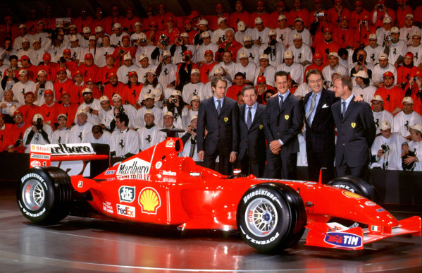 Maranello, Modena, Italy. 29 January 2001. Ferrari F2001 with Michael Schumacher, Rubens Barrichello, Luca Badoer, Jean Todt and Luca Di Montezemolo. World copyright - LAT Photographic