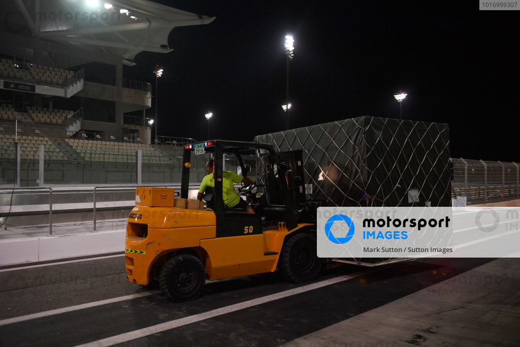 Forklift and Renault Sport F1 Team freight