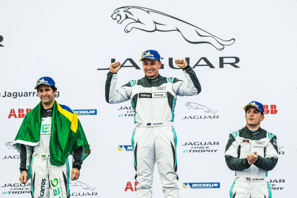 Winner Simon Evans (NZL), Team Asia New Zealand celebrates on the podium with 2nd position Sérgio Jimenez (BRA), Jaguar Brazil Racing and 3rd position Bryan Sellers (USA), Rahal Letterman Lanigan Racing