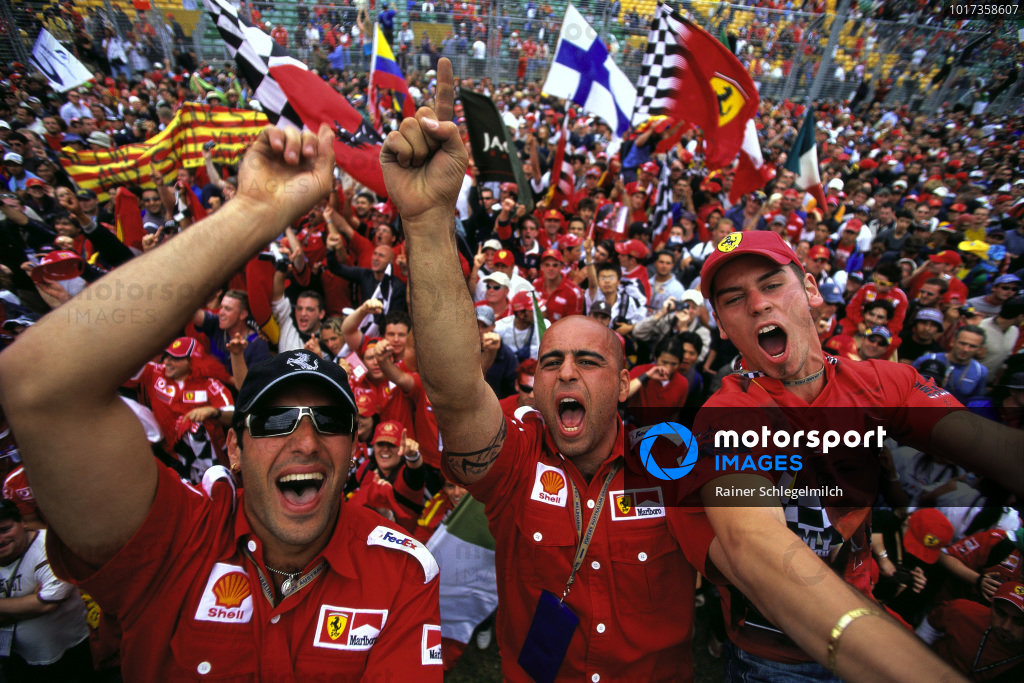 Ferrari fans invading the circuit after the race.