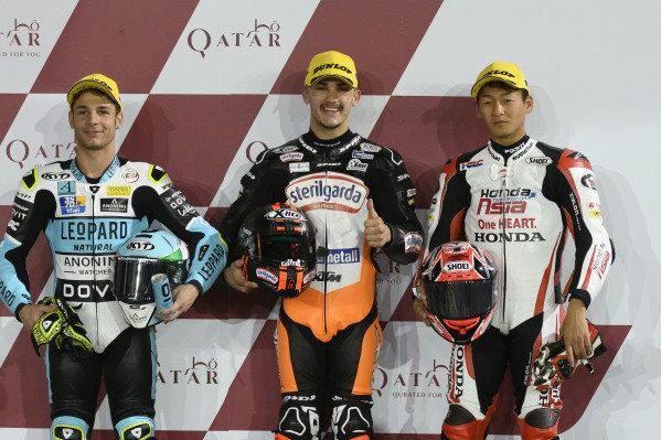 Top 3 after QualifyingLorenzo Dalla Porta, Leopard Racing, Aron Canet, Max Racing Team, Kaito Toba, Honda Team Asia.