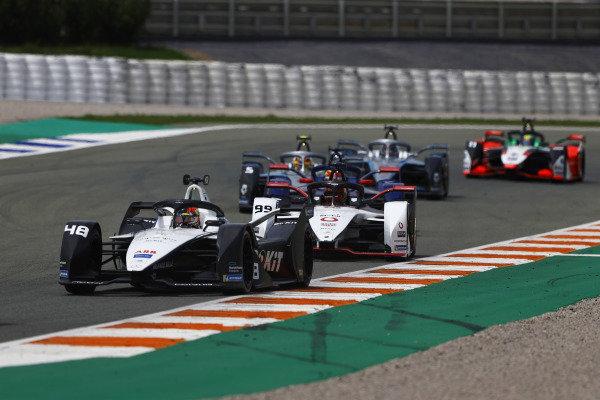 Edoardo Mortara (CHE), Venturi Racing, Silver Arrow 02, leads Pascal Wehrlein (DEU), Tag Heuer Porsche, Porsche 99X Electric, and Stoffel Vandoorne (BEL), Mercedes Benz EQ, EQ Silver Arrow 02