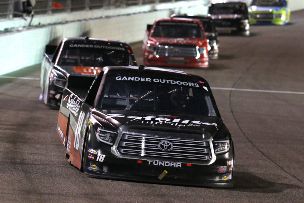 #18: Harrison Burton, Kyle Busch Motorsports, Toyota Tundra Safelite AutoGlass and #4: Todd Gilliland, Kyle Busch Motorsports, Toyota Tundra JBL/SiriusXM