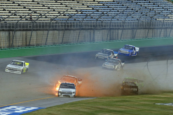 #51: Brandon Jones, Kyle Busch Motorsports, Toyota Tundra SoleusAir/Menards and #98: Grant Enfinger, ThorSport Racing, Ford F-150 Champion Power Equipment crash