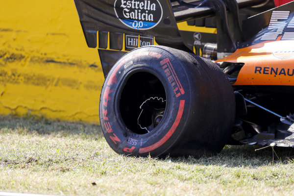 The damaged car of Carlos Sainz, McLaren MCL35