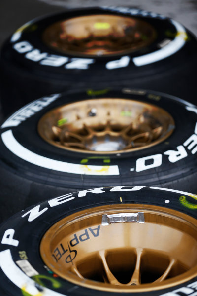 Suzuka Circuit, Suzuka, Japan.  Saturday 26 September 2015. Tyres ready for use. World Copyright: Alastair Staley/LAT Photographic ref: Digital Image _R6T1464