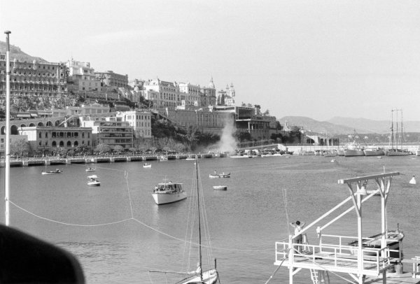 1955 Monaco Grand PrixMonte Carlo, Monaco. May 22.Alberto Ascari's Lancia D50 crashes into the harbour leaving a cloud of smoke. Ascari survived the crash, only to be killed four days later in testing at Monza.World Copyright: LAT Photographic.ref: MC 22555.