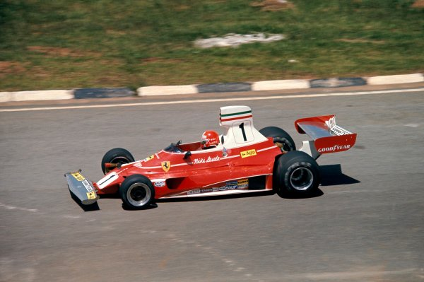 1976 Formula 1 World ChampionshipBrazilian Grand Prix, Interlagos, 23rd - 25th Jan 1976Niki Lauda (Ferrari 312 T) on his way to victory.World Copyright: LAT Photographic.ref: 35mm Transparency.