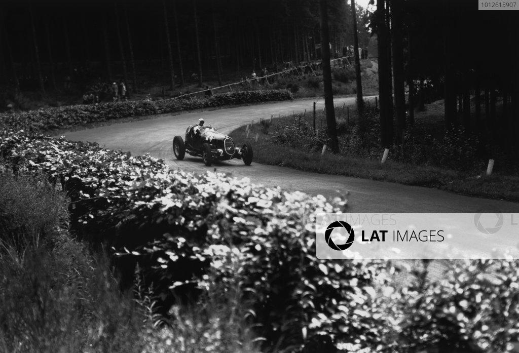 Nurburgring, Germany. 25 July 1937.Giuseppe Farina (Alfa Romeo 12C-36), retired, action.World Copyright: Robert Fellowes/LAT PhotographicRef: RF37_GER_70