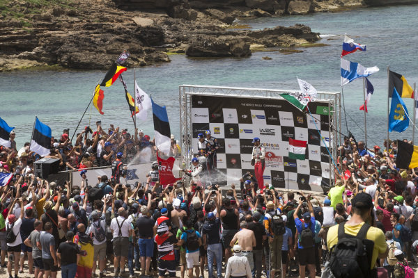 Thierry Neuville sprays the champagne after winning Rally d'Italia Sardinia