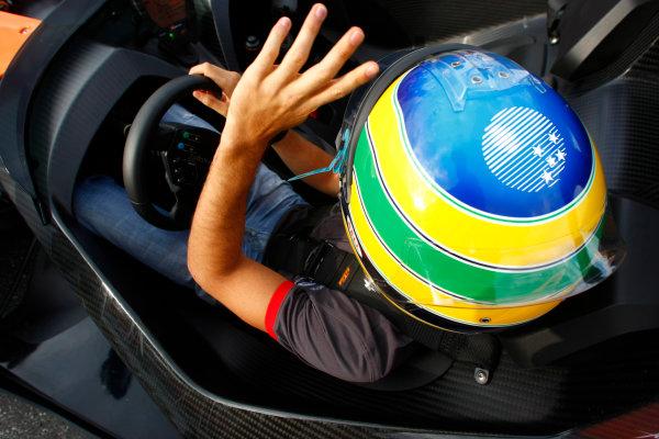 Hockenheimring, Hockenheim, Germany24th July 2010Bruno Senna, HRT F1 F110-02, gives a passenger ride in an X-Bow. Portrait. Helmets. Atmosphere.World Copyright: Charles Coates/LAT Photographicref: Digital Image _26Y4208