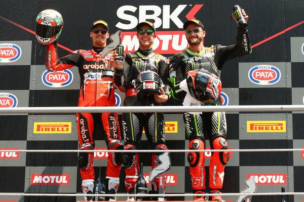 Podium: race winner Jonathan Rea, Kawasaki Racing, second place Chaz Davies, Aruba.it Racing-Ducati SBK Team, third place Tom Sykes, Kawasaki Racing.
