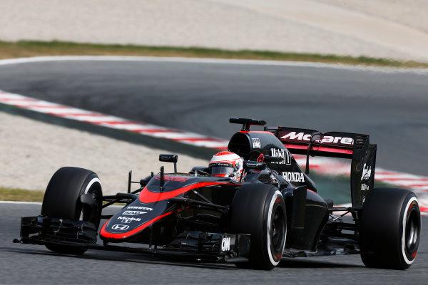 Circuit de Catalunya, Barcelona, Spain. Wednesday 13 May 2015. Jenson Button, McLaren MP4-30 Honda.  World Copyright: Alastair Staley/LAT Photographic. ref: Digital Image _79P4998