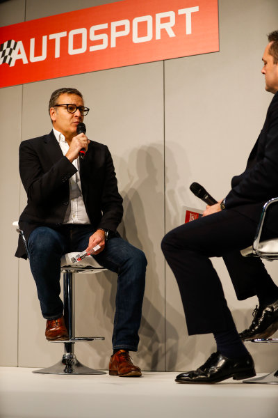 Autosport International Exhibition. National Exhibition Centre, Birmingham, UK. Friday 12th January 2018. A guest talks to Henry Hope-Frost on the Autosport Stage. World Copyright: Glenn Dunbar/LAT Images Ref: _31I2854
