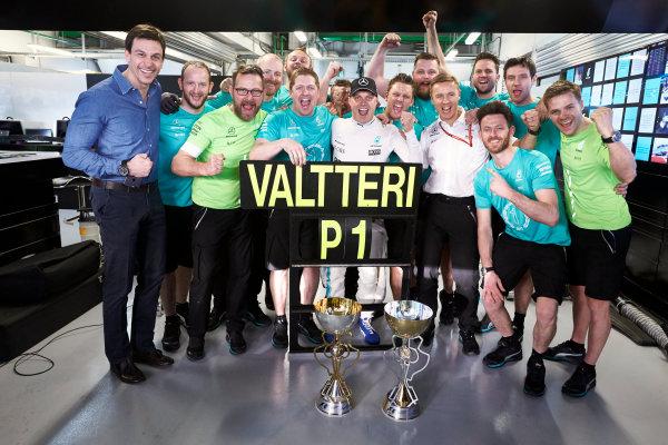 Sochi Autodrom, Sochi, Russia. Sunday 30 April 2017. Valtteri Bottas, Mercedes AMG, 1st Position, and the Mercedes team celebrate victory. World Copyright: Steve Etherington/LAT Images ref: Digital Image SNE14832