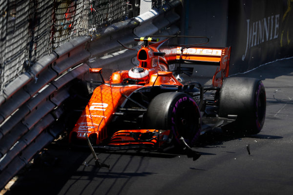 Monte Carlo, Monaco. Saturday 27 May 2017. Stoffel Vandoorne, McLaren MCL32 Honda, hits the wall. World Copyright: Glenn Dunbar/LAT Images ref: Digital Image _31I9355